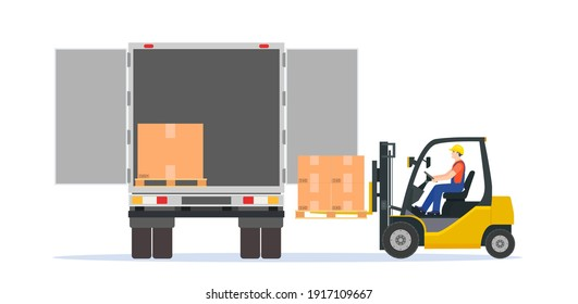 Forklift loading pallet boxes into truck. Electric uploader loading cardboard boxes in delivery car. Logistic shipping cargo. Storage equipment. Vector illustration in flat style