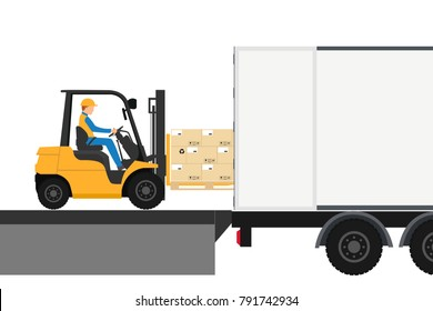 Forklift with man driving in container for export