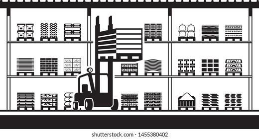 Forklift moves pallets in stock for building materials - vector illustration