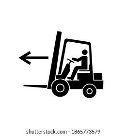 Forklift Point Left Black Icon, Vector Illustration, Isolate On White Background Label. EPS10