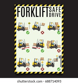 Forklift Safe Drive Set. Forklift safety rules. Easy to edit vector