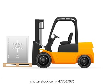 Forklift with safe on a white background.