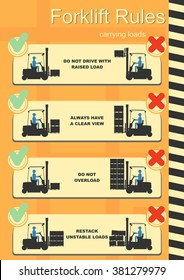 Forklift safety rules. Easy to edit vector infographics.