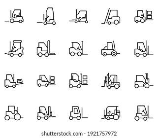 Forklift set line icons in flat design with elements for web site design and mobile apps.  Collection modern infographic logo and symbol. Forklift vector line pictogram