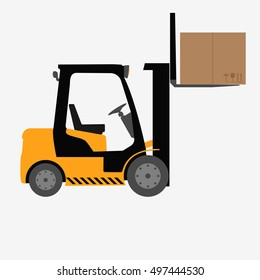 forklift truck with box isolated flat vector stock illustration icon loader