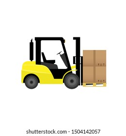 forklift truck with boxes isolated flat vector stock illustration icon loader.10 EPS.
