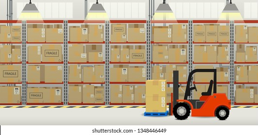 Forklift truck in distribution warehouse flat design vector illustration