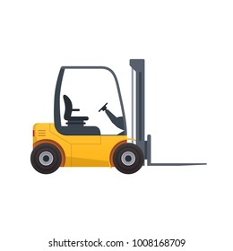 Forklift truck. Fork loader, pallet with stacked boxes, distribution warehouse, supply storage service, logistics company, freight load. Cargo delivery, shipping, transportation Vector illustration