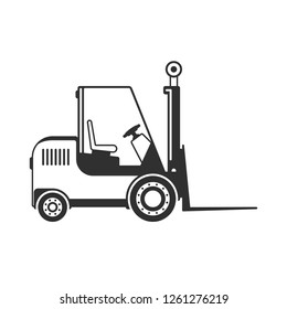 Forklift truck icon isolated on white background. Loader sign in flat style. Industry cargo equipment, fork lift and delivery, shipping concept. Vector illustration EPS 10.