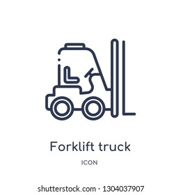 forklift truck icon from transport outline collection. Thin line forklift truck icon isolated on white background.