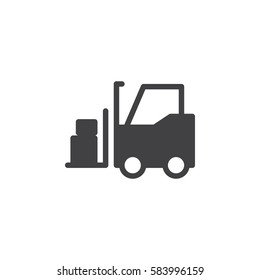 Forklift truck icon vector, filled flat sign, solid pictogram isolated on white. Symbol, logo illustration