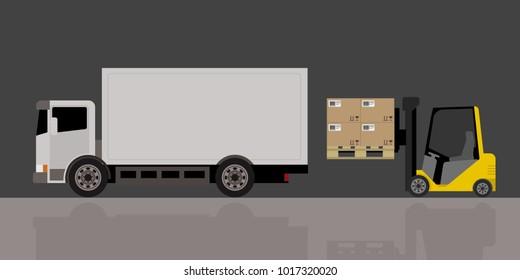 forklift and truck, forklift loading truck