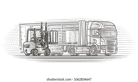 Forklift truck loading semitrailer truck illustration. Vector.