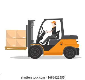 Forklift truck with man driving vector
