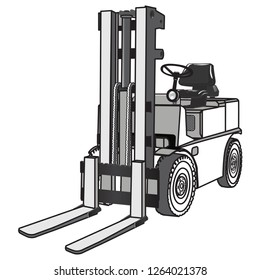 forklift truck, vector