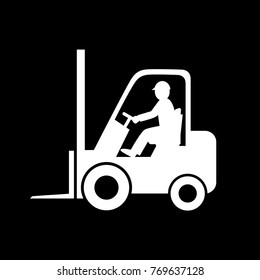 Forklift truck vector icon on black background