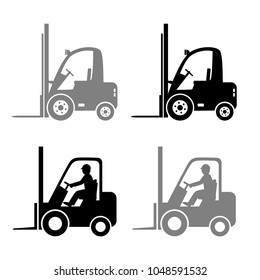 Forklift truck vector icons on white background
