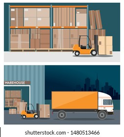 Forklift truck in warehouse building. Truck loading . Nighttime. Two vector banners