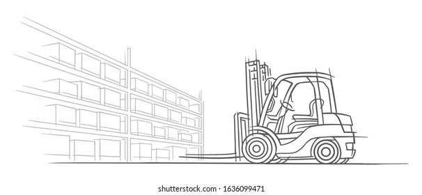 Forklift truck in warehouse sketch line illustration. Outline, isolated, vector, 2 layers.