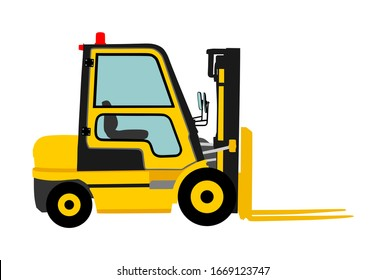 Forklift vector illustration, heavy loader. Cargo from warehouse to truck. Storage equipment racks, pallets with goods. Shipping and transportation concept. Lift truck vehicle for construction site.