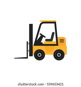 Forklift vector illustration isolated on white background. Modern flat icon.