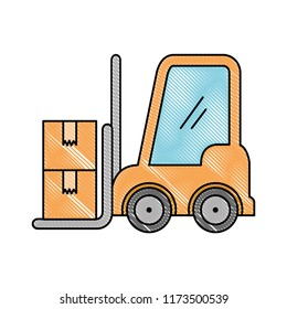 forklift vehicle with boxes