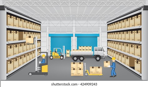 Forklift working with cargo container and truck inside warehouse.