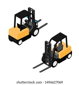 Forklifts, reliable heavy loader, truck. Heavy duty equipment isolated on white background isometric view