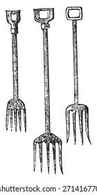 Forks, vintage engraved illustration.
