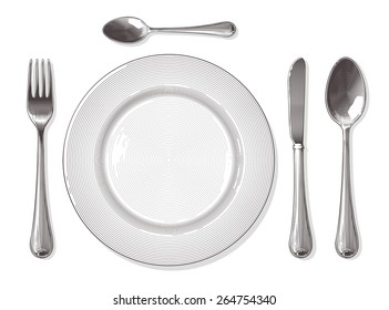 Fork,spoon, knife, plate in vintage engraving style.  Vector illustration, isolated, grouped, transparent background.
