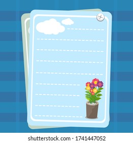 Form with the design pattern of flower and cloud for notes. Template for printing notebooks. Vector