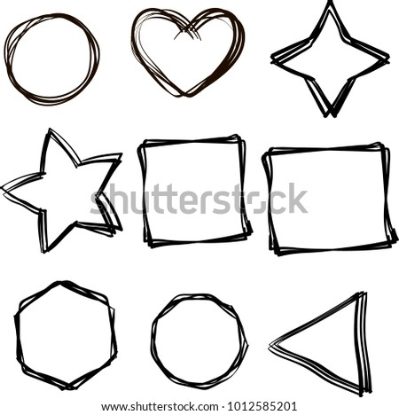 Form Hand Draw Circle Heart Star Stock Vector Royalty Free