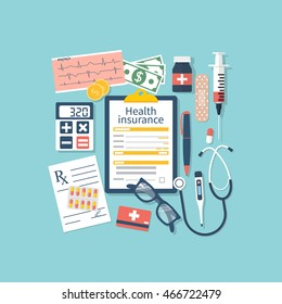Form of health insurance. Medical equipment, money, prescription medications. Healthcare concept. Vector illustration flat design style. Life planning. Claim form.