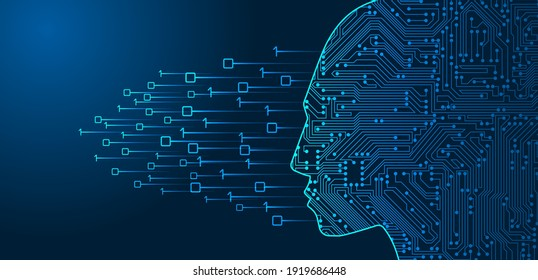 Form of human head with artificial intelligence. Circuit board and binary data flow