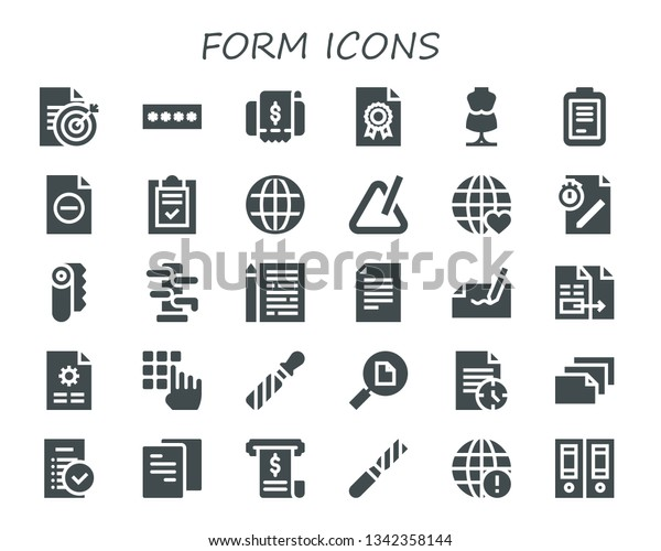 Form Icon Set 30 Filled Form Stock Vector (Royalty Free) 1342358144