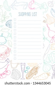 """Form """"shopping List"""" with the design pattern of food and markup for notes. Template for printing notebooks. Vector"""