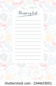 """Form """"shopping List"""" with the design pattern of food and markup for notes. Template for printing notebooks. Vertical. Vector"""
