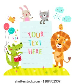 Form for the text with cute animals
