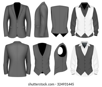 Formal business suits jacket and waistcoat for men. Vector illustration.