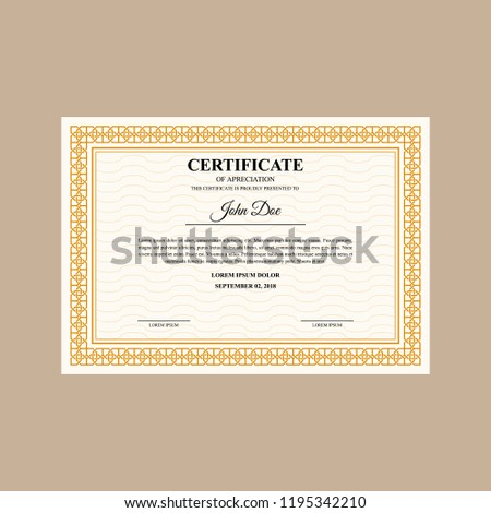 Formal Certificate Template Diploma Currency Border Stock Vector