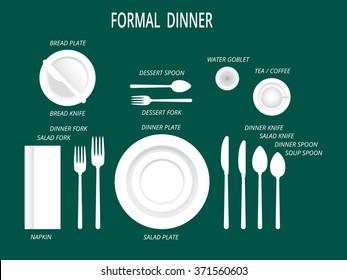Formal dinner place settings. Dinner table set. Set for food and drink. Dinner  sc 1 st  Shutterstock & Dining Table Setting Stock Vectors Images \u0026 Vector Art | Shutterstock