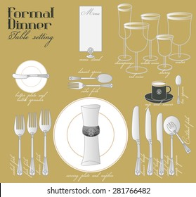 FORMAL DINNER TABLE SETTING Formal dining with elegant table decoration in glamour style are arrange for full course dinner.