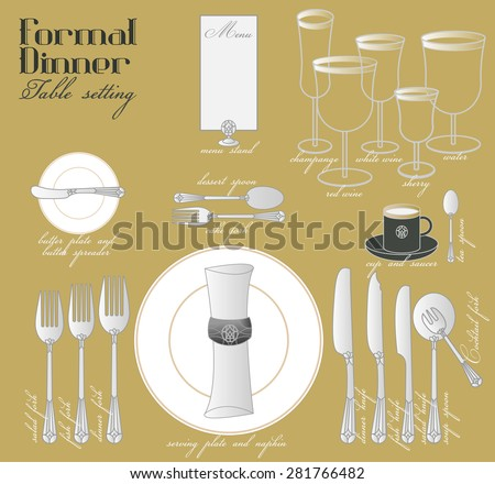 FORMAL DINNER TABLE SETTING Formal Dining Stock Vector Royalty Free - How to set a formal dining table