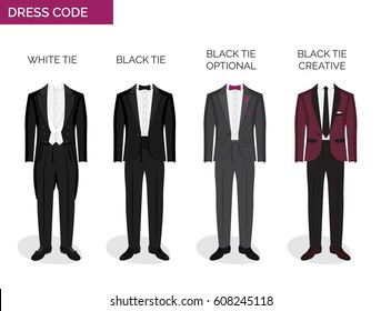 Formal dress code guide information chart for men. Suitable outfits for formal events for men. Tuxedo jacket, bowtie, patent shoes and other elements.
