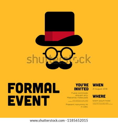 Formal Event Invitation Template Hat Spectacles Stock Vektorgrafik
