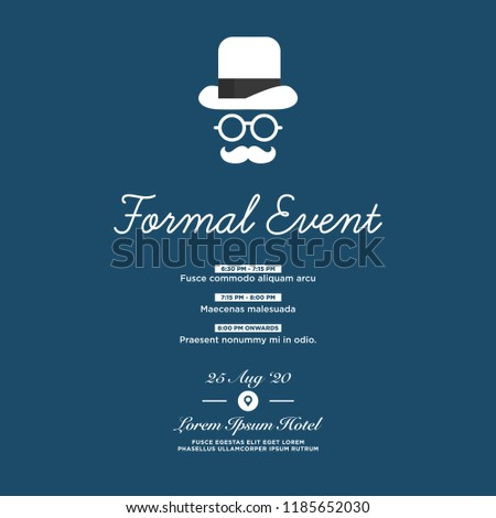 formal event invitation template hat spectacles stock vector
