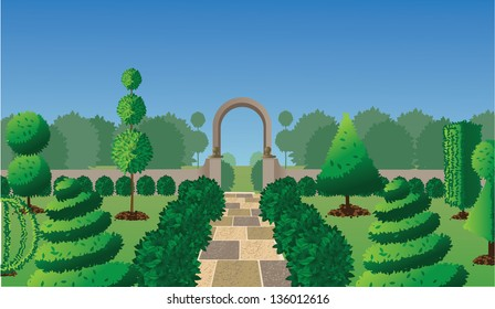 Formal garden with topiary. EPS 10 vector, grouped for easy editing. No open shapes or paths.