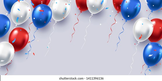 Formal greeting design in national blue, red and white colors with realistic flying balloons. Celebration, festival background. Greeting banner or poster with white, blue, and red helium balloons.