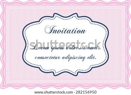 Formal Invitation Template Border Frame Complex Background Stock