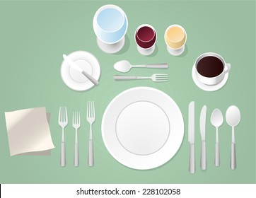 Formal place setting vector illustration